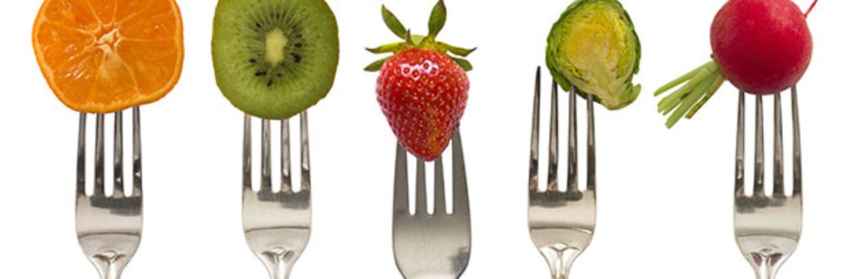 fruit and veg on fork